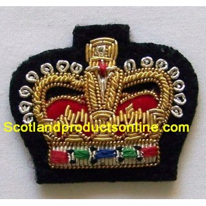 Crown Hand Embroidery Cap Badge