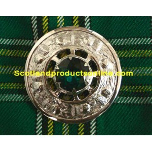 Piper Plaid Irish Brooch with Green Stone