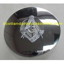 "Masonic Plaid Brooch Chrome 3 1/4"" Across"