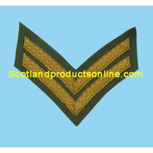 2 Bar Chevron Mess Dress Gold on Rifle Green