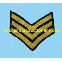 3 Bar Chevron Mess Dress Gold on Rifle Green