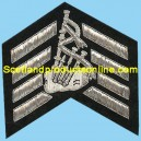4 Bar Silver Wire Embroidery Chevron With Bagpipe