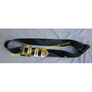 Black PVC Military Piper Cross Belt With Gold Buckles