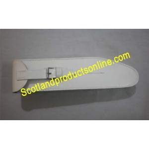 White Leather Flute Pouch