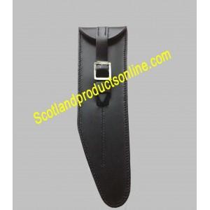 Black Leather Flute Pouch