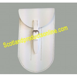White Leather Flute Pouch Fb