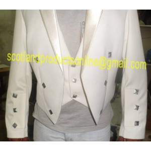 White Prince Charlie Jacket With Waistcoat