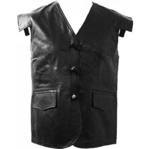 New Black Leather Swordsman Jacobite Kilt Waistcoat