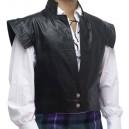 Mens Jacobite Black 100% Leather Swordsman Waistcoat