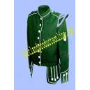 Green Doublet Jacket With Embroidery Bagpiper Badge