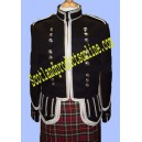 Pipe Band Doublet Jacket With Wide Silver Braid