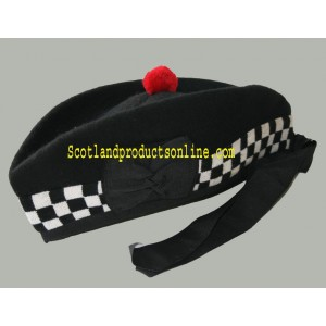 Scottish Glangarry Hat With White And Black Dicing