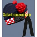 Navy Glengarry Hat With White & Red Dicing