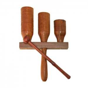 3 Block Wooden Agogo Bell with Beater