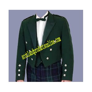Dark Green Prince Charlie Jacket With Waistcoat