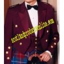 Maroon Prince Charlie Jacket With Waistcoat