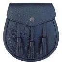 Leather Black Sporran with Tassels