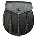 Leather Black Sporran with Tassels