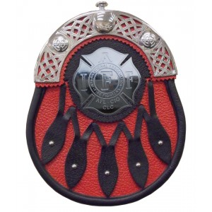 Hunting Leather Black Sporran Chrome Cantle with Firefighter Badge
