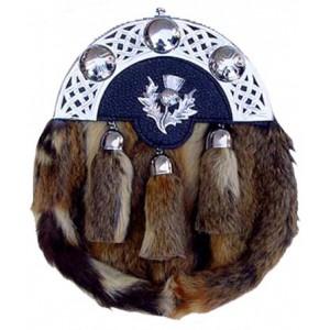 Rabbit Hair Sporran Chrome Cantle Thistle Badge with Tassels