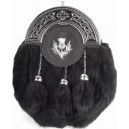 Rabbit Hair Sporran Chrome Cantle Thistle Badge with Tassels