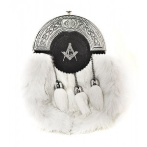 Rabbit Hair Sporran Chrome Cantle Masonic Badge with Tassels