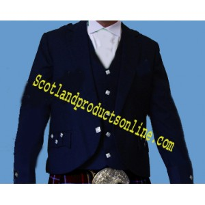 Dark Navy Blue Argyll Kilt Jackets With Vest