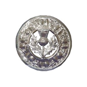 Plaid Brooch with Scottish Thistle Crest Badge