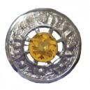 Plaid Brooch with Yellow Stone