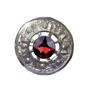 Plaid Brooch with Red Stone