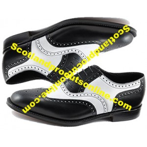 Black/White Leather Ghillie Brogues