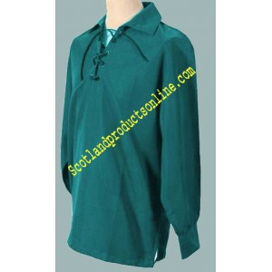 Jacobite Shirt In Bottle Green Cotton