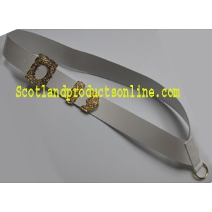 White Leather Drummers Cross Belt With Gold Buckles