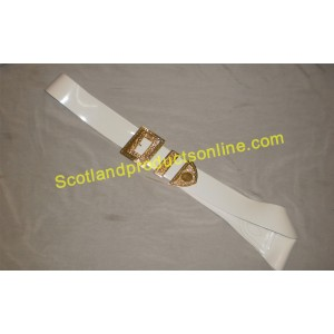 White PVC Military Piper Cross Belt With Gold Buckles
