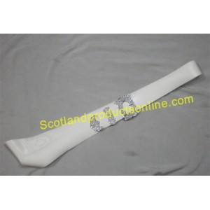 White PVC Piper Cross Belt With Silver Buckles