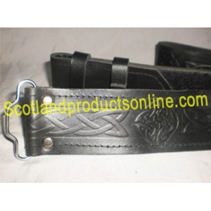 Black Celtic Embossed Leather Kilt Belt