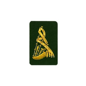 Pipes Badge Gold On Green